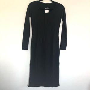 Boohoo Long Sleeves Stretchy Black Pencil Dress.